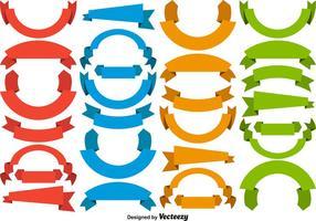 Ensemble vectoriel de bandeaux en blanc colorés Rubans
