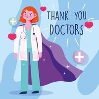 femme médecin avec cape et lettrage de remerciement vecteur