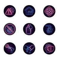collection d'icônes de style néon de maladie virale
