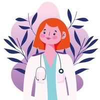 femme médecin avec stéthoscope autour du cou vecteur