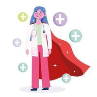 médecin en tant que super-héros avec des icônes médicales