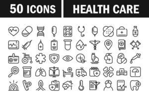 collection d & # 39; icônes de pictogramme de ligne de soins de santé