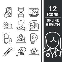 jeu d'icônes de santé et d'assistance médicale en ligne