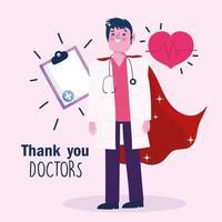 docteur en tant que modèle de carte de voeux de héros