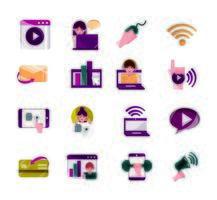 activités en ligne et collection d'icônes de communication numérique vecteur