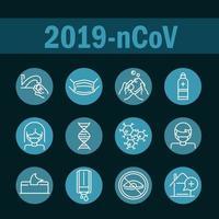 jeu d'icônes de ligne de bloc de prévention des coronavirus