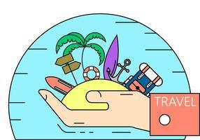 Illustration de voyage en île vecteur