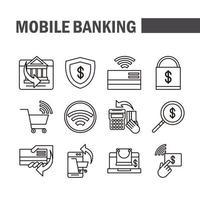 pack d'icônes de pictogramme de banque mobile et de commerce électronique