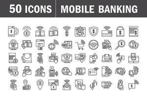 jeu d'icônes de pictogramme de banque mobile et de commerce électronique
