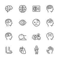 Jeu d'icônes de ligne pictogramme blessures cérébrales
