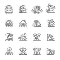 jeu d'icônes de pictogramme de catastrophe naturelle vecteur