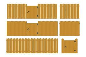 ensemble de clôture en bois vecteur