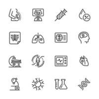 soins médicaux et contrôle de santé ensemble d'icônes de pictogramme vecteur
