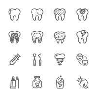 jeu d'icônes de pictogramme de soins dentaires vecteur