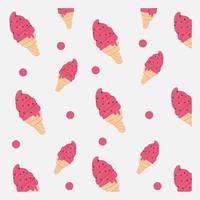motif de cônes de crème glacée rose dessinés à la main