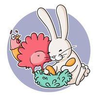 lapin drôle chassant les œufs de poule