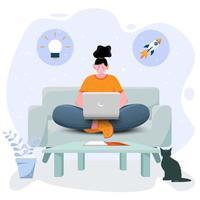 concept d'apprentissage et de travail en ligne vecteur