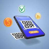 scannez le code qr sur la conception du téléphone mobile vecteur