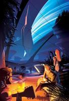 feu de camp futuriste dans une autre planète