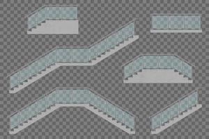 escalier avec garde-corps en verre vecteur