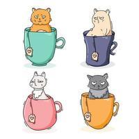 collection de chats sur des tasses à thé