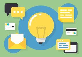 Illustration vectorielle de l'ampoule de travail sur le bureau libre