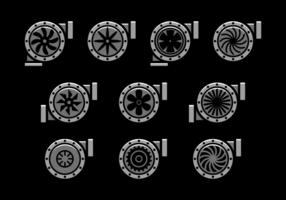 Icônes vectorielles à turbocompresseur vecteur