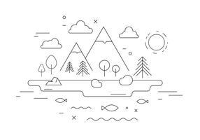 Illustration vectorielle de paysage de montagne vecteur