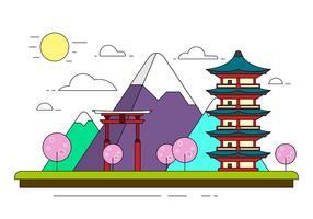 Illustration japonaise gratuite du paysage vecteur