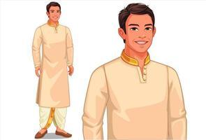 homme en vêtements traditionnels indiens vecteur