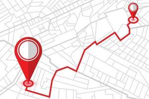 deux broches de localisation sur la carte du navigateur gps