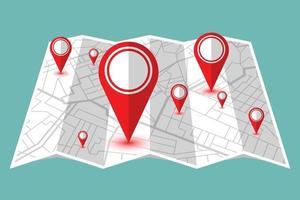 carte avec des épingles de localisation rouges isolées