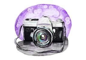 Caméra vintage gratuite aquarelle vecteur