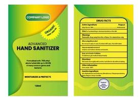 étiquette d'huile de graines de chanvre désinfectant pour les mains antibactérien
