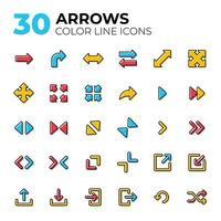 ensemble d & # 39; icônes de flèche de ligne colorée vecteur