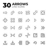 ensemble d'icônes de flèche de style de ligne vecteur