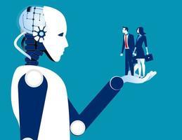 gens d & # 39; affaires humains en main robotique vecteur