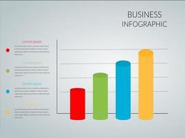 graphique à barres infographique de cylindre coloré vecteur