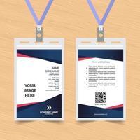 carte d'identité simple coudée bleue et rouge