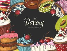 beignets, gâteaux et cupcakes dessinés à la main sur gris vecteur