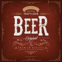 étiquette de bière rouge vintage pour bouteille vecteur