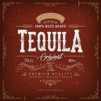 étiquette de tequila rouge vintage pour bouteille vecteur