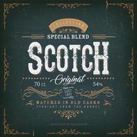 modèle d'étiquette de whisky écossais bleu vintage pour bouteille vecteur