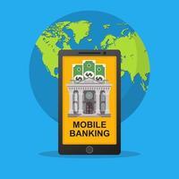 concept de banque mobile avec globe terrestre derrière vecteur