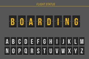 informations de vol d'embarquement
