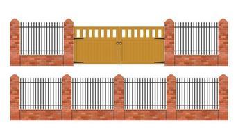 clôture en brique avec porte en bois isolée vecteur