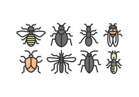 Icônes d'insectes vecteurs vecteur