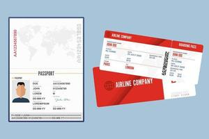 passeport ouvert et carte d'embarquement isolés vecteur