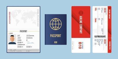 passeport et carte d'embarquement vecteur