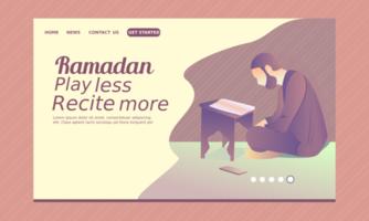 page de destination du ramadan avec un homme récitant le coran vecteur
